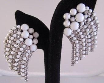 1950s Rhinestone and white can waterfall earrings
