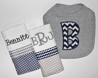 Personalized Baby Boy set INCLUDES Bib and 2 Burp Cloths - Navy and Gray