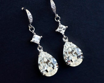 Bridal Earrings, Cubic Zirconia and Swarovski Teardrops Earrings, Bride Bridal Earrings, Bridesmaids Earrings, Bridal Dangle Earrings,