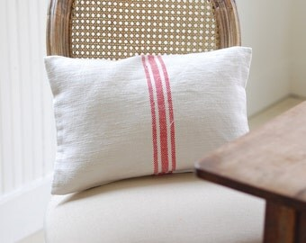 VINTAGE Grain Sack Pillow Cover - RED STRIPE