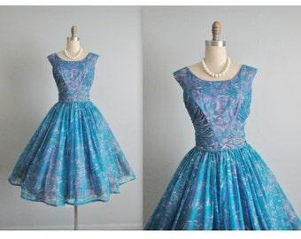 50's Floral Chiffon Dress // Vintage 1950's Blue Floral Chiffon Garden Party Cocktail Dress M