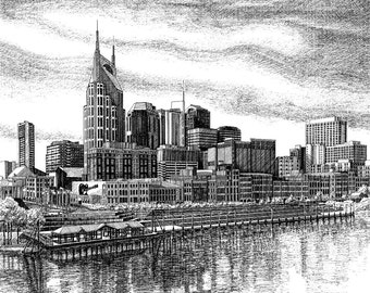 Print of Nashville Skyline in Nashville TN