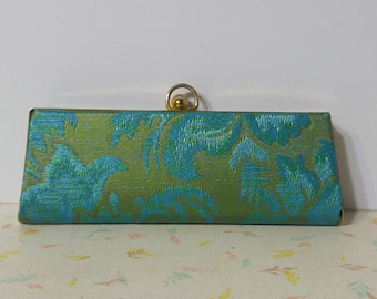 Lovely Vintage 1950's Aqua Floral Womens Eyeglass Case, Store your Vintage Cateyes in Style Mini Clutch Purse
