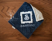 Monogramed Personalize Minky Baby Blanket - Framed Mongram- Choice of Colors