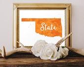 Oklahoma - State Watercolor Art - Black and Orange - Printable Wall Art- College Gift - Print at home - Digital Print