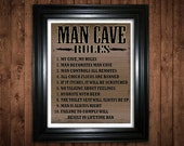 Man Cave Rules - Gift for Him - Gifts for Dad - Fathers Day- Printable DIY Art - Digital Print at Home Print - Instant Download Gift for Him