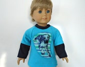 18 inch boy doll shirt layered look turquoise blue navy puppy dog applique stripes