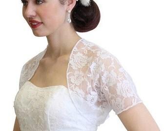 Mother day Sale Bridal lace jacket, WHITE bridal Lace Bolero, wedding shrug With Short Sleeve 720ROS-WHI