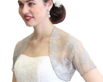 Valentine Sale Bridal Shrug, Silver bridal Lace Bolero, bridal Lace Jacket, wedding jacket 720ROS-Silver