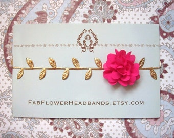 Newborn Hot Pink Flower with Gold Leaves Headband - Grecian Headband - Baby Gold Leaf - Golden Leaves Headband - Newborn Gold Leaves Halo