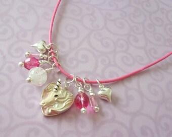 Unicorn Necklace, Glow in the Dark,  Heart, Little Girl Jewelry