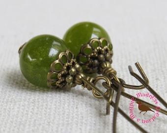 Long Boho Olive Green Earrings, Jade Earrings, Olive Jade Vintage Brass Earrings, Green Jade Leverback Earrings, by MagpieMadness for Etsy