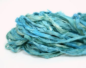 Recycled Sari Ribbon ,by the yard, hand dyed chiffon ribbon, jewelry making, doll clothing, spinning supplies