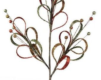 25 Inch Fall Moss Persimmon Gold Loop Spray XS5719NK, Deco Mesh Supplies, Wreath Picks
