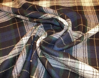 Vintage Wool Woven Plaid Fabric