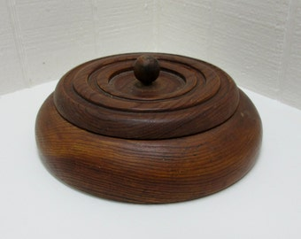 Vintage Notion Box Wooden Sewing Box Round Wooden Box