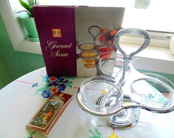Serving Set Condiments & Sauces IRVINWARE GOURMET SUSAN Complete w/ Original Box recipe booklet 1970s Decor