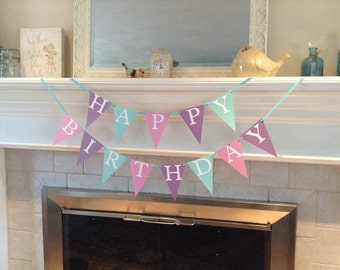 Happy Birthday banner, frozen themed party colors, ready to ship