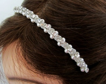 ON SALE Crystal Pearl Headband with rhinstones -White or Ivory- Nailys