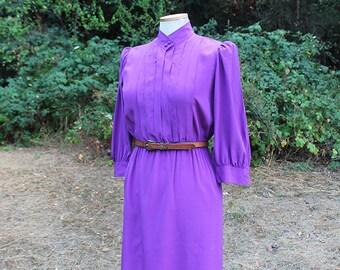 Purple Silk Shirt Dress // Size Small