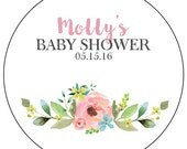 floral baby shower stickers, watercolor flower baby shower stickers, custom flower baby shower labels, pink and blue flower stickers