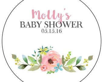 Floral Baby Shower Stickers, Watercolor Flower Baby Shower Stickers, Custom  Flower Baby Shower Labels