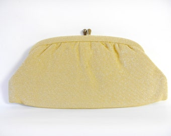Vintage Mid Century 1960s Gold Micro Thread Evening Clutch Purse/Handbag