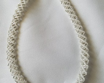 White and silver helix necklace