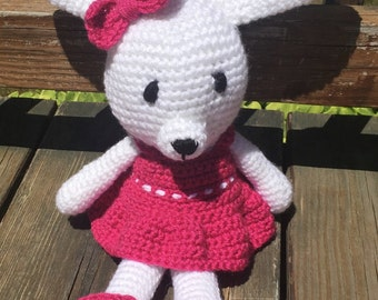 Crocheted bunny with dress