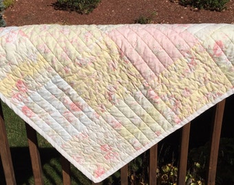 Hand quilted quilt, coverlet, 54x72, pastel colored quilt