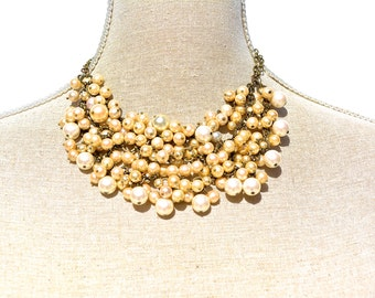 Pearl Bib Necklace, Vintage Statement Jewelry, Wedding Necklace