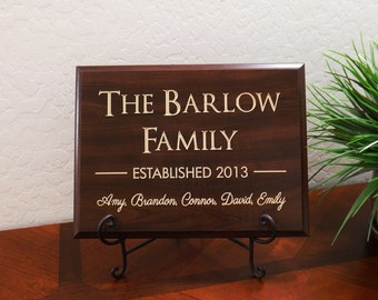 """Decorative Carved Wood Sign Personalized with First Names in Paris Font, Name Family & Year Established 12""""x9"""" Free Shipping"""