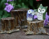 RESERVED:  Green & Purple Owl Wedding Cake Topper and Stump  - Miniature Hedwig Inspired Clay Owlery