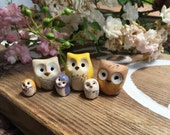 RESERVED FOR KATRINA: Clay Horned Owls & 3 Elf Owls Harry Potter Inspired Owlery