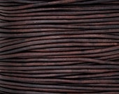 Leather Cord-2mm Round Cord-Soft-Natural Antique Brown-50 Meter Spool