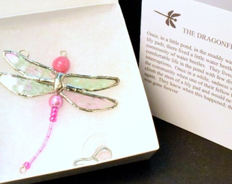 The DRAGONFLY CONDOLENCE GIFT and Poem D06.   Pink Stained Glass Dragonfly