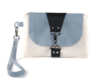 Color Block Wristlet with Blue Suede and Black Leather, Beige Color Block Women's Wrist Wallet, Small Handbag, Cell Phone Wristlet