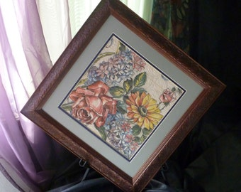Recycled framed  quilted floral hankie