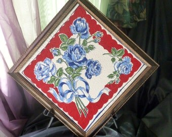 Recycled frame and quilted vintage hankie for sale