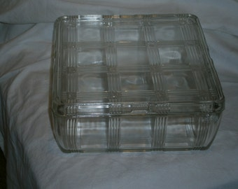 Vintage Square Glass Refrigerator Dish with Lid