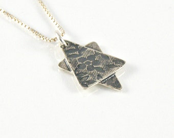 Star of David Necklace in Sterling Silver with Floral Pattern, Bat Mitzvah Gift, Jewish Star Necklace, Judaica Jewelry, Magen David Pendant