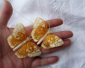 yellow and orange feather butterfly hairclips