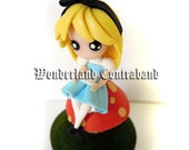NEW - Alice on a Mushroom - Miniature Sculpture - OOAK Surface Decor