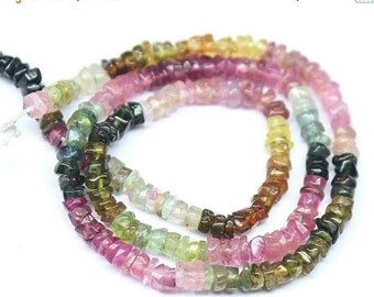 VALENTINE SALE 55% Multi Tourmaline Smooth Polished Wheel Beads, 12 Inches, 3-5mm, SKU1735R