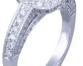 GIA H VS2 14k White Gold Cushion Cut Diamond Engagement Ring Bezel Deco 1.70ctw