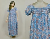 Floral Maxi Dress 70s Hawaiian Muumuu Blue Tent Dress Puff Sleeves Smocked Peasant Dress 1970s Hippie Boho / One Size