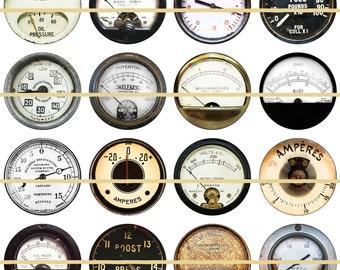 "Steampunk Guages, Steam punk Dials, Steampunk Magnets, Steampunk Pins, Badges, 1"" Flatbacks, Hollowbacks, Cabochons, 12 ct"