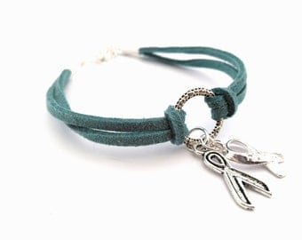 Teal Charity Awareness Bracelet, PCOS, Ovarian Cancer, Anti Bullying Awareness