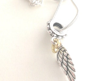 Sterling Silver Angelic Wing with Gold Heart Necklace