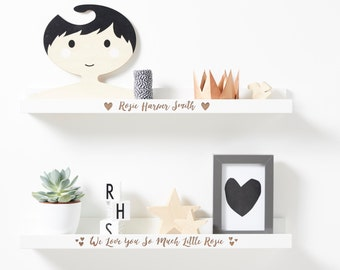 Personalised New Baby Heart Shelf